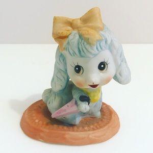 🛍 Vintage ceramic poodle with umbrella figurine